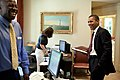 Barack Obama, Katie Johnson and Reggie Love outside the Oval Office.jpg