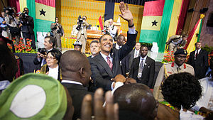 Parliament of Ghana - U.S. President Barack Obama shakes hands after delivering a speech to the Ghanaian Parliament at the Parliament House