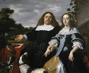 Portrait of Jan Jacobsz. Hinlopen (1626-1666) and Lucia Wijbrants (1638-1719) with to the left a vista showing a wet nurse and child