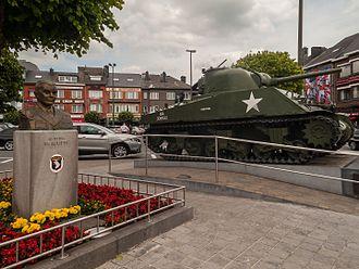 Anthony McAuliffe - Bust of Gen. McAuliffe with Sherman tank, Bastogne, Belgium