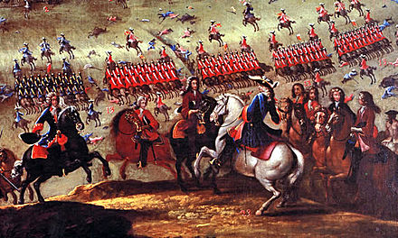 The Franco-Spanish army led by the Duke of Berwick defeated decisively the Alliance forces of Portugal, England, and the Dutch Republic at the Battle of Almansa. Batalladealmansa.jpg