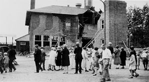 Bath Consolidated School - Rear view of the school building after the explosion.