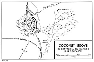 Battle of the Coconut Grove - Map depicting the main movements during the battle