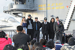 Battleship cast, USS George Washington.jpg
