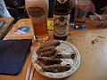 Bavarian sausages and beer at Helsinki Beer Festival 2016.jpg