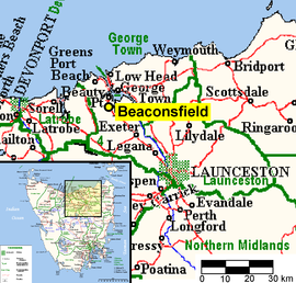 Beaconsfield Tasmania Location Map 2