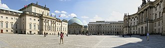 Bebelplatz - Panoramic view of the Bebelplatz, taken from Unter den Linden with State Opera to the left, St. Hedwig's Cathedral straight ahead and the Alte Bibliothek of the Humboldt University law faculty to the right