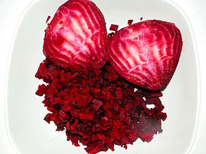 The usually deep-red roots of beetroot are eat...