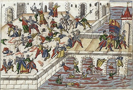 The Spanish Fury at Maastricht in 1579 Beleg van Maastricht (1579), Johann Jakob Wick (cropped).jpg