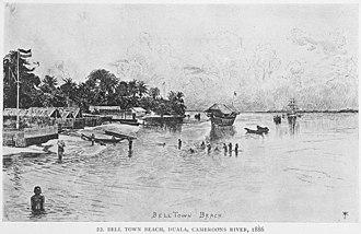 Wouri estuary - Wouri river beach at Belltown, now part of Douala, in 1886