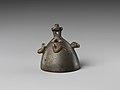 Bell with heads of a ram, a jackal, and a bovine wearing a yoke ending in uraei MET DP239489.jpg