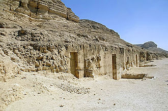 Baqet III - Outside of the tombs of Baqet III and of his son Khety at Beni Hasan