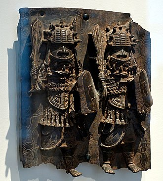 Benin Empire - Bronze plaque of Benin Warriors with ceremonial swords. 16th–18th centuries, Nigeria.