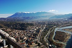 View of the city of Berat and Mount Tomorr