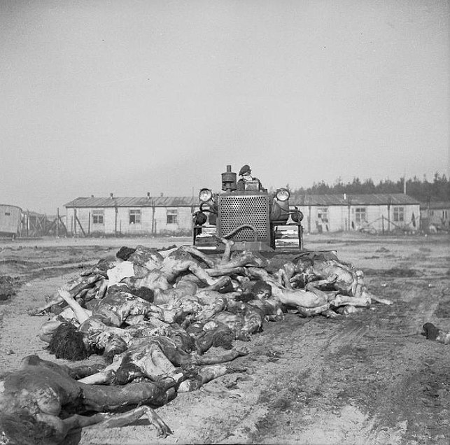A British worker bulldozing bodies into a mass-grave upon liberation, 1945. (Picture credit: Wikipedia)