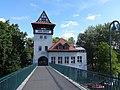 Berlin-Alt-Treptow Abteibrücke Blick auf den Turm auf der Insel der Jugend.JPG