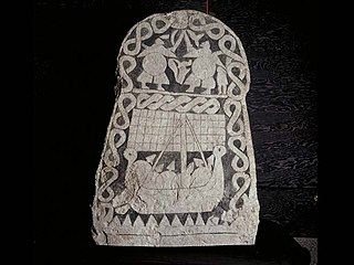 Viking age picture stone from Gotland, Sweden.