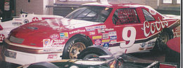 Bill Elliott's Melling Racing car that set the record for the fastest lap in a stock car - 212.809 mph, 44.998 sec at Talladega Superspeedway