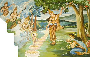 This picture depicts the birth of Gautama Budd...