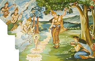 Saraca asoca - Queen Māyā giving birth to the Buddha