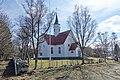 Bjarkøy kirke (church Sandsøya 1776 rebuild Bjarkøya 1886) springtime stone fence naked trees etc Bjarkøya Harstad Norway 2019-05-09 DSC00652 2.jpg