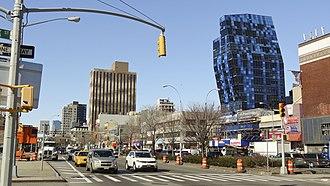 Delancey Street - Delancey Street and the Blue Condominium from Suffolk Street looking west