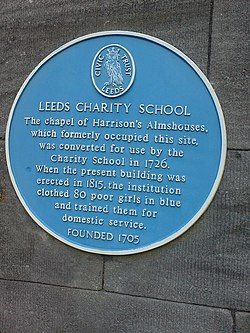 Photo of Leeds Charity School blue plaque