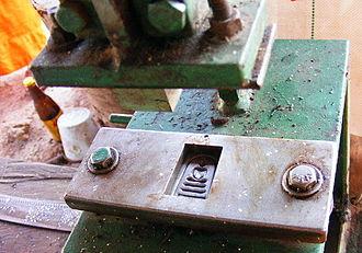 Thai Buddha amulet - Pressing die to make plaster amulets