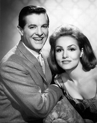 Robert Cummings - Robert Cummings and Julie Newmar in a publicity still for My Living Doll