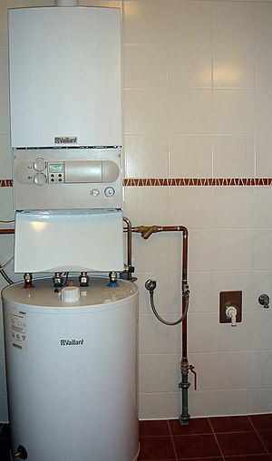 Water heating - Gas furnace (top) and storage water heater (bottom) (Germany)