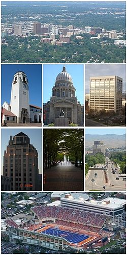 Dari kiri ke kanan: Boise skyline, Train Depot, Idaho State Capitol, One Capitol Center, Hoff building, Grove Fountain, Capitol Blvd. dan Broncos Stadium.