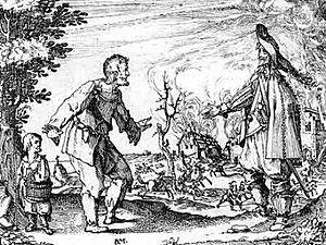Bellum se ipsum alet - A peasant begs a mercenary for mercy in front of his burning farm during the Thirty Years' War. Contemporary illustration.