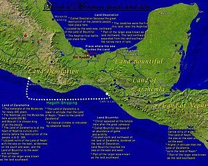 Historicity of the Book of Mormon - Map showing the possible lands and sites of the Book of Mormon in Mesoamerica