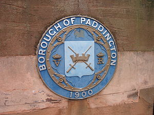 Metropolitan Borough of Paddington - Bridge roundel with the original borough seal and the year 1900, including the VR designation for Queen Victoria
