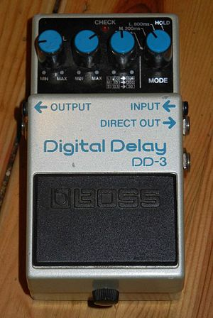 Delay (audio effect) - A Boss Corporation digital delay pedal