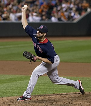 Logos and uniforms of the Boston Red Sox - Brandon Workman wearing the Friday Red Sox road uniforms.
