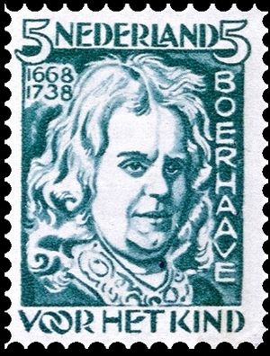 Jan Sluyters - Dutch stamp (1928) w. Herman Boerhaave (design by Sluijters)