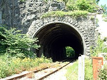 Stone tunnel with railway tracks emerging from it, surrounded by vegetation.