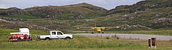 Britten-Norman Islander lined up for take off at Colonsay Airport.jpg