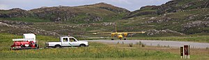 Colonsay Airport - A Britten-Norman Islander lined up for take off at Colonsay