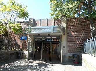 Broadway Junction (New York City Subway) - Street entrance with an overhang that combined Art Deco and mid-century modern elements.