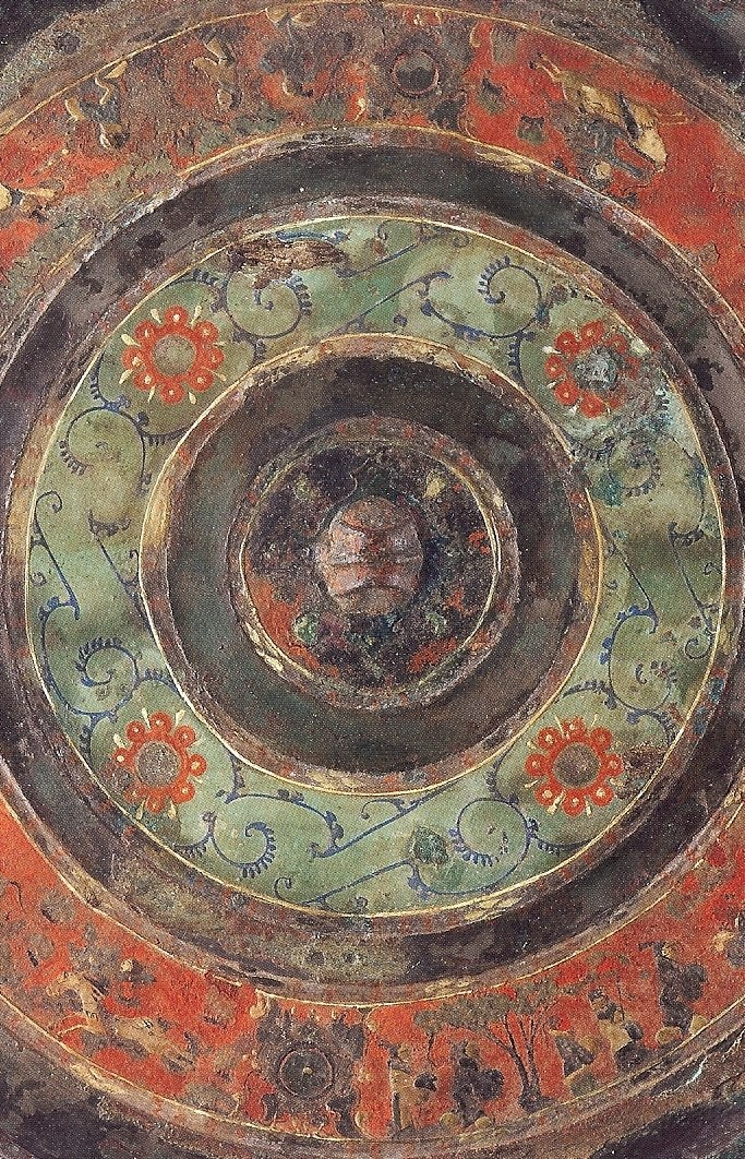 Bronze mirror with painted designs, Western Han