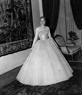 Eva Perón - Perón wearing a dress designed by Christian Dior