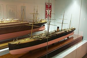RMS Oceanic (1870) - Builder's model, at the Merseyside Maritime Museum, showing the ship as altered in 1872.