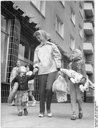 Family - A mother with her children, Berlin, Germany, 1962