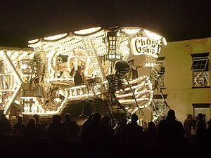 "West Country Carnival - Front of ""Ghost Ship (Deliver Us)"" by Gremlins CC, Burnham on Sea Carnival 2006. Winner of six prizes at Bridgwater 2006, including the ""Hardy Spicer Cup"" for the overall champion float"