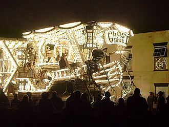 """West Country Carnival - Front of """"Ghost Ship (Deliver Us)"""" by Gremlins CC, Burnham on Sea Carnival 2006. Winner of six prizes at Bridgwater 2006, including the """"Hardy Spicer Cup"""" for the overall champion float"""