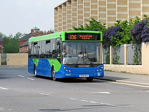 Thames Travel - An MAN 14.240 with MCV Evolution body on route 106 to Berinsfield leaving Oxford railway station
