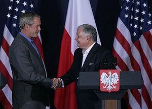 Poland–United States relations - Image: Bush Kaczyński shake hands June 2007