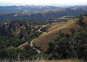 California State Route 130 - Route 130 winding around the Diablo Range Mountains.